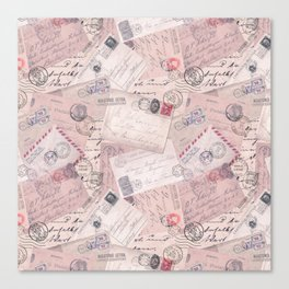 Nostalgic Letter and Postcard Collage Soft Pink Canvas Print