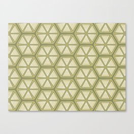 Green and White Lemon Lime Geometric Canvas Print