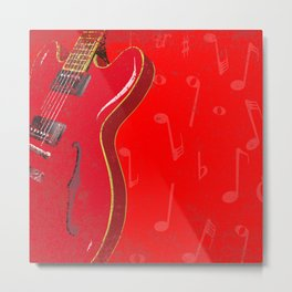 Red Guitar Background Metal Print