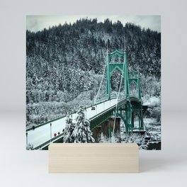 St Johns Bridge Winter Wonderland by Seasons Kaz Sparks Mini Art Print