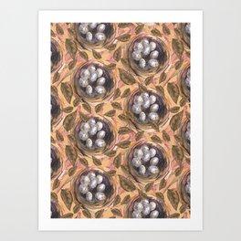 eggs and leafs Art Print
