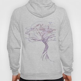 Quiet Acacia Zen Tree , Earthy African Bonsai Peace Lavendar Purple Hoody