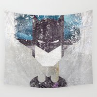 superhero Wall Tapestries featuring Bat grunge superhero by melted