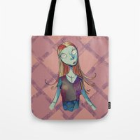nightmare before christmas Tote Bags featuring Sally - Nightmare before christmas by KanaHyde