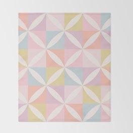 Vintage Geometric Pattern - Pastel Rainbow Throw Blanket