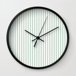 Mattress Ticking Narrow Striped Pattern in Moss Green and White Wall Clock