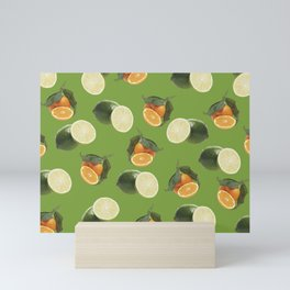 Lime and Clementine Fruits Pattern on Green Background Mini Art Print