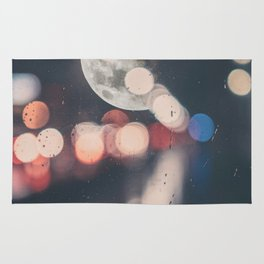 Moon Abstract Lights with Bokeh Graphic Design Photography Rug