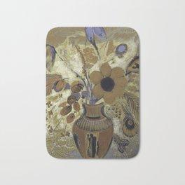 Etruscan Vase with Flowers - Odilon Redon Bath Mat