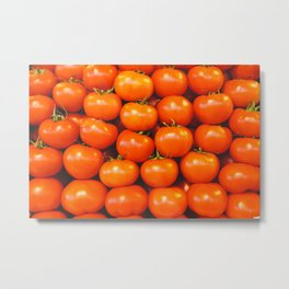Delicious red tomatoes. Vintage aerial view of tomatoes. Summer tray market agriculture farm full of organic vegetables. Retro style Metal Print
