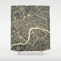 london Shower Curtains featuring London by Map Map Maps