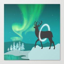 Magic Deer of the North Selas Aurora Borealis Canvas Print