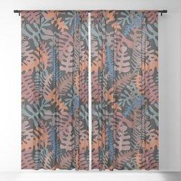 Mod Leaf Toss in Black Sheer Curtain