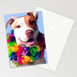 Dog in Flowers Stationery Cards