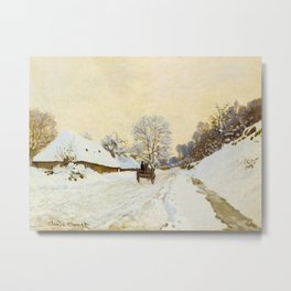Claude Monet Impressionist Landscape Oil Painting A Cart on the Snowy Road at Honfleur Metal Print