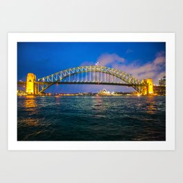 Sydney Opera House and Harbour Bridge at Night II Art Print