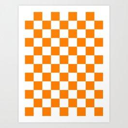 Checkered - White and Orange Art Print
