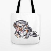 shih tzu Tote Bags featuring Shih Tzu by bellandpixel