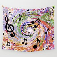 music notes Wall Tapestries featuring Music Notes by gretzky