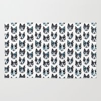 terrier Area & Throw Rugs featuring BOSTON TERRIER by Barbarian // Barbra Ignatiev