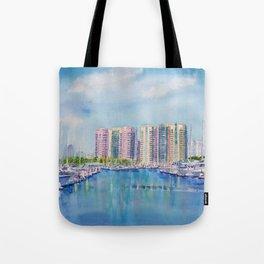 Aqua Towers and Marina in Long Beach Tote Bag