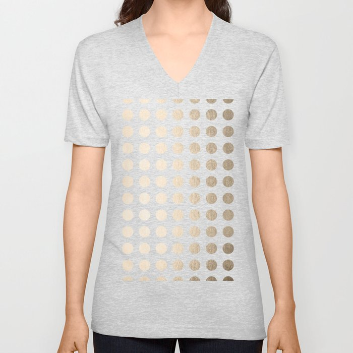 Simply Polka Dots in White Gold Sands Unisex V-Neck