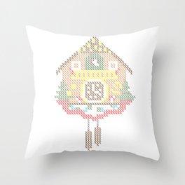 Cuckoo Clock Cross Stitch Throw Pillow