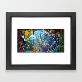 Hogwarts stained glass style Framed Art Print