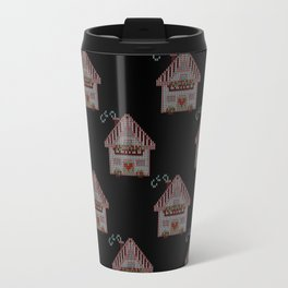 Cute little house cross stitch - black Travel Mug