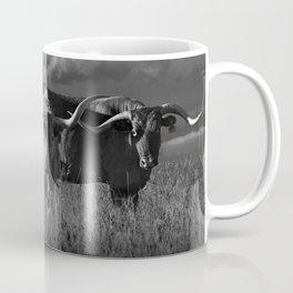Texas Longhorn Steers under a Cloudy Sky in Black & White Coffee Mug