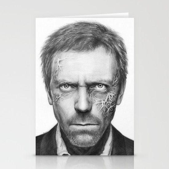 House MD Zombie Portrait Hugh Laurie Stationery Cards