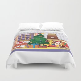 Merry Christmas Cat and Dog Duvet Cover