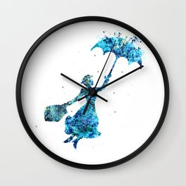 The Magical Nanny - Splashes of Blues Wall Clock
