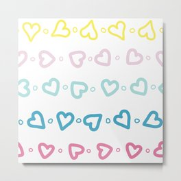 Colorful hearts over white background Metal Print