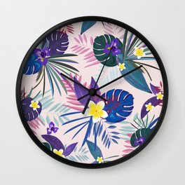 Tropical Palm and Monstera Leaves Pattern Wall Clock