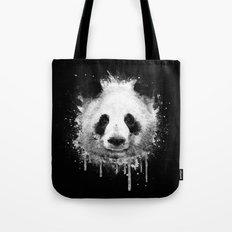 Cool Abstract Graffiti Watercolor Panda Portrait in Black & White  Tote Bag