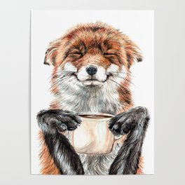 """ Morning fox "" Red fox with her morning coffee Poster"