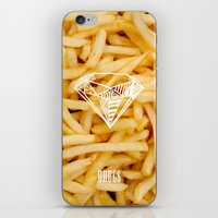 french fries iPhone & iPod Skins featuring Diamonds & French Fries by Danny Ivan