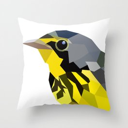Bird art canada warbler Yellow gray Throw Pillow
