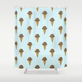 ice cream cones blue food fight apparel and gifts Shower Curtain