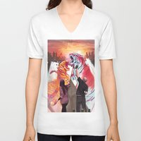tigers V-neck T-shirts featuring DUELING TIGERS by ArtBattles
