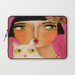 White Cat and Flapper girl pretty painting by Tascha Laptop Sleeve