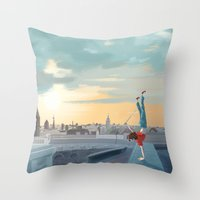 daredevil Throw Pillows featuring Daredevil  by Lesley Vamos
