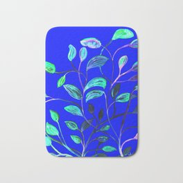 Blue Night's Red and Green Leaves! Bath Mat