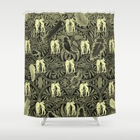 nudes Shower Curtains featuring Tickle your Fancy by mentalembellisher