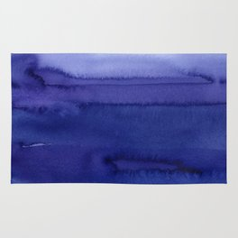 Blue Violet Watercolor Horizontal Stripes Abstract Rug