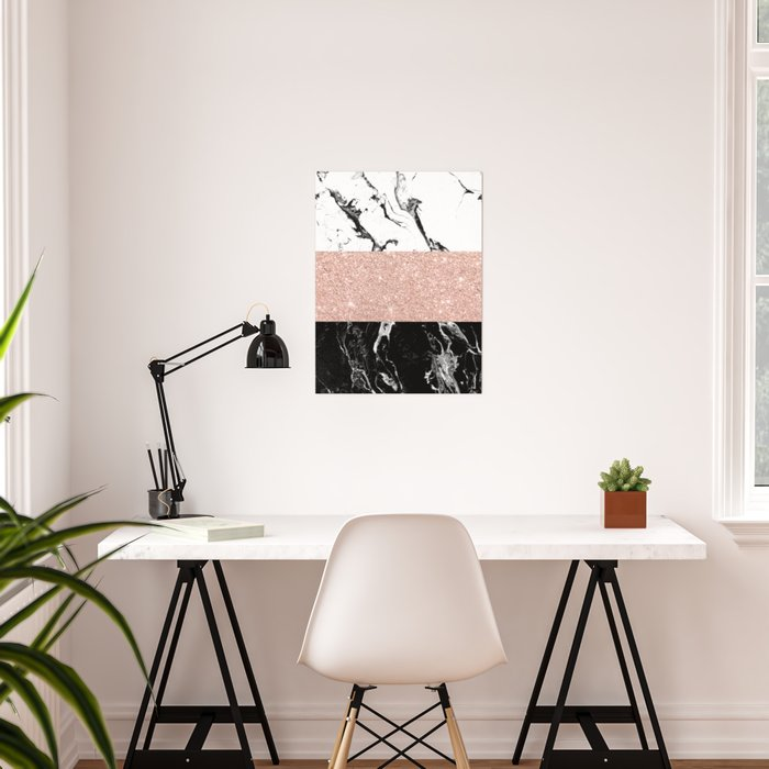 Modern black white marble rose gold color block stripes pattern Poster