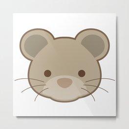 Cute mouse portrait cartoon Metal Print