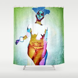 """""""Don't Listen to crappy music"""" by Nacho dung. Shower Curtain"""