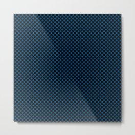 Black and Snorkel Blue Polka Dots Metal Print